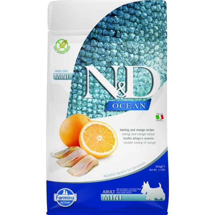 Сухой корм Farmina N&D Adult Dog Mini Ocean Herring & Orange с сельдью и апельсином для взрослых собак мелких пород 800гр