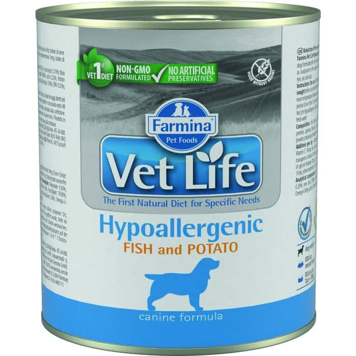 Консервы Farmina Vet Life Hipoallergenic Canine Fish & Potato диета с рыбой и картофелем при пищевой аллергии для собак 300г