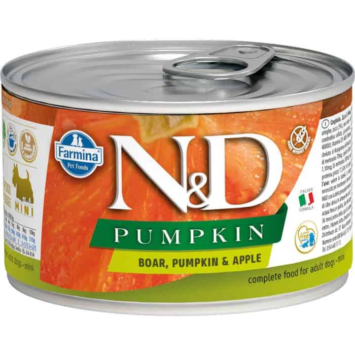 Консервы Farmina N&D Adult Dog GF Pumpkin Boar&Apple беззерновой с мясом кабана,тыквой и яблоком для собак мелких пород 140г