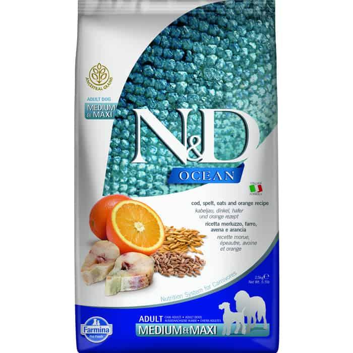 Сухой корм Farmina N&D Adult Dog Meduim & Maxi Ocean Codfish&Orange с треской, спельтой, овсом и апельсином для собак средних крупных пород 2,5кг