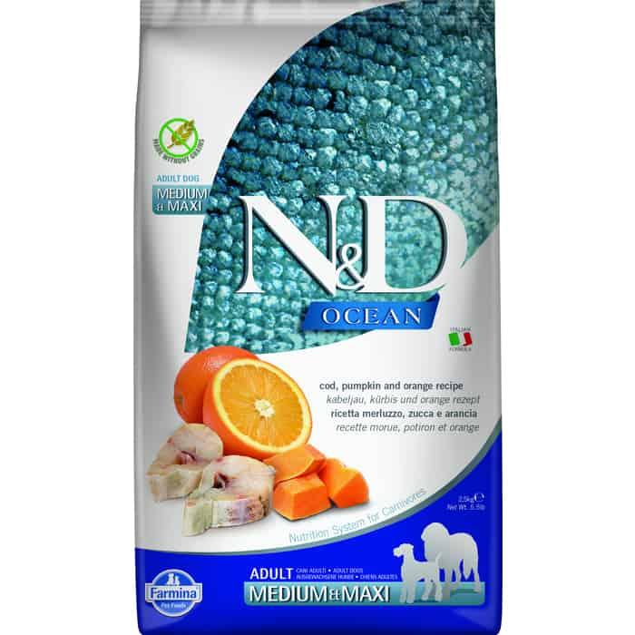 Сухой корм Farmina N&D Adult Dog Meduim & Maxi Ocean Codfish, Pumpkin Orange треской, тыквой и апельсином для собак средних крупных пород 2,5кг