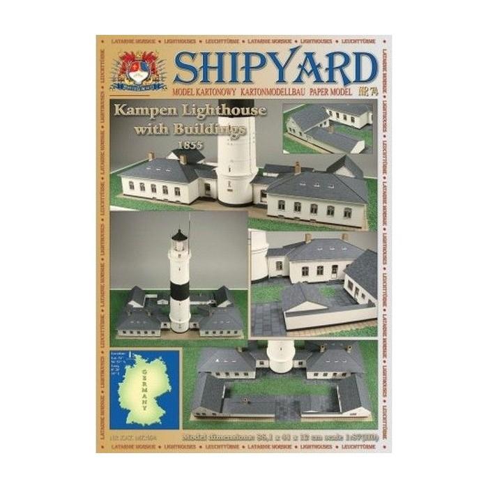 Сборная картонная модель Shipyard маяк Lighthouse Kampen with buildings (№74), 1/87