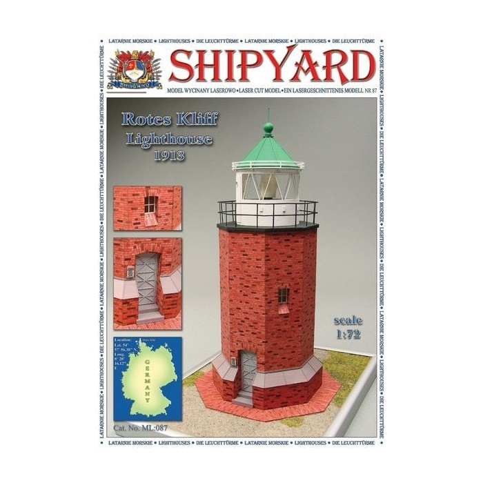 Сборная картонная модель Shipyard маяк Rotes Kliff Lighthouse (№87), 1/72