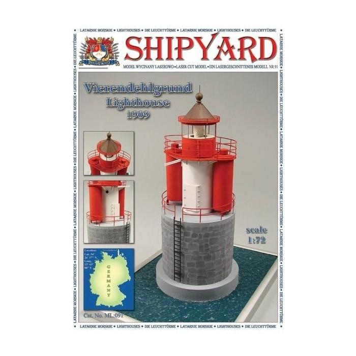 Сборная картонная модель Shipyard маяк Vierendehlgrund Lighthouse (№91), 1/72