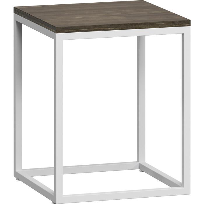 LoftyHome Стол журнальный Бервин 3 серый с белым основанием
