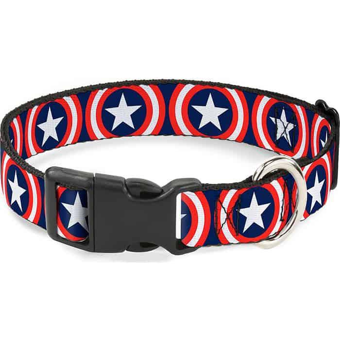 Ошейник Buckle-Down Капитан Америка с пластиковой застёжкой 23-38см