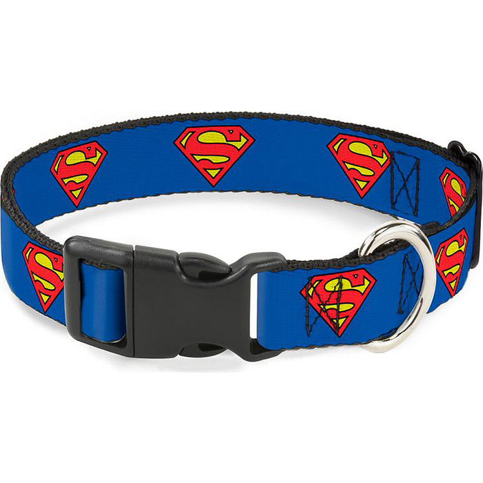 Ошейник Buckle-Down Супермен с пластиковой застёжкой классика 28-43см
