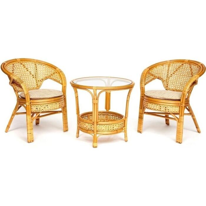 Террасный комплект (стол со стеклом + 2 кресла) TetChair Pelangi ротанг Honey (мед)