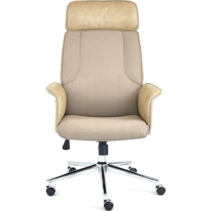 Кресло TetChair Charm экошерсть/кож/зам коричневый/бежевый 4203