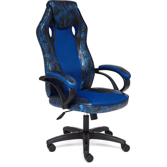 Кресло TetChair Racer gt military кож/зам/ткань синий/синий TW 10
