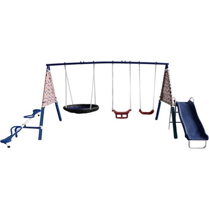 Фото - Детский комплекс DFC качели, качели-балансир, качели-гнездо и горка 74591 прыгунки ходунки и качели