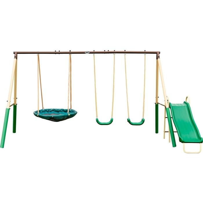 Фото - Детский комплекс DFC качели, качели-гнездо и горка 94013 прыгунки ходунки и качели