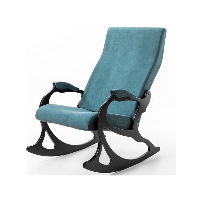 Кресло-качалка Мебелик Санторини ткань изумруд/каркас венге