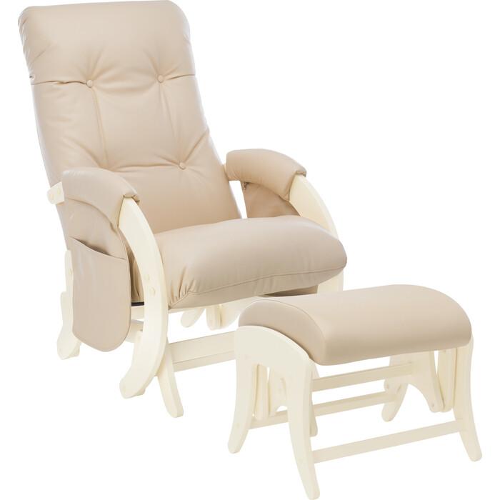 Milli Комплект Кресло для кормления и укачивания + пуф Smile дуб шампань, к/з polaris beige с карманами