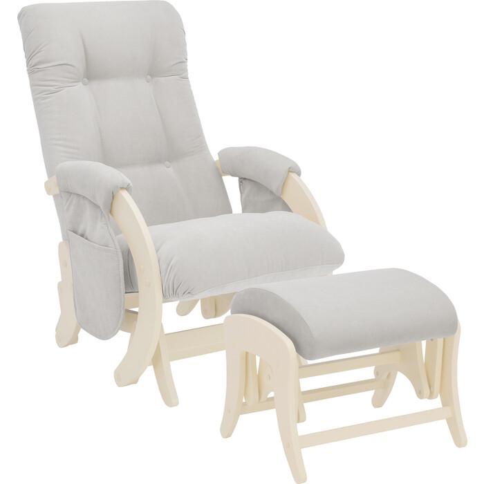 Milli Комплект Кресло для кормления и укачивания + пуф Smile дуб шампань, ткань Verona light grey с карманами