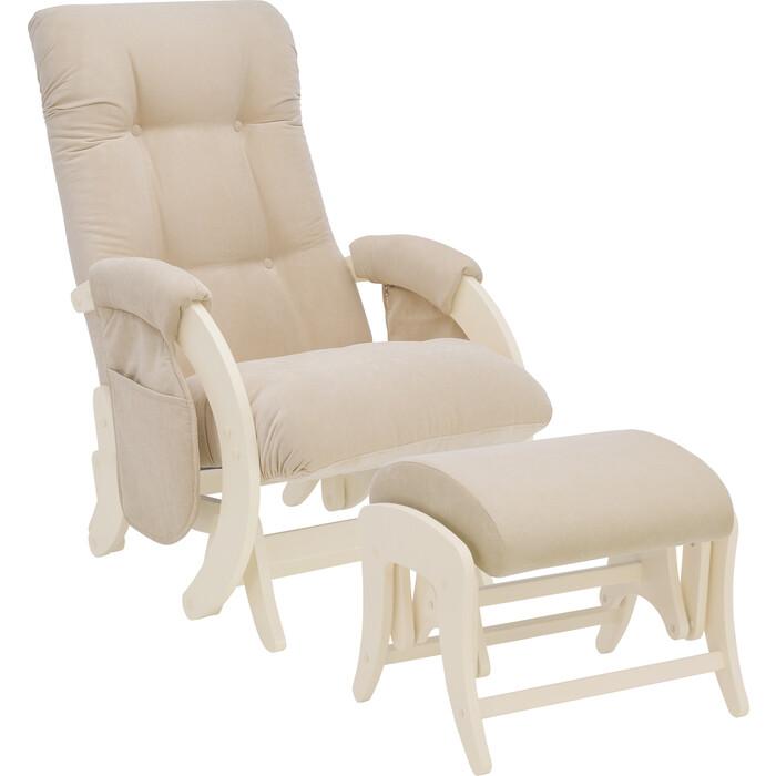 Milli Комплект Кресло для кормления и укачивания + пуф Smile дуб шампань, ткань Verona vanilla с карманами
