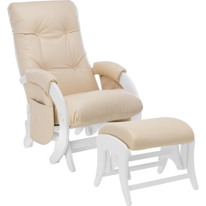 Комплект Кресло для кормления и укачивания + пуф Milli Smile молочный дуб, к/з polaris beige с карманами