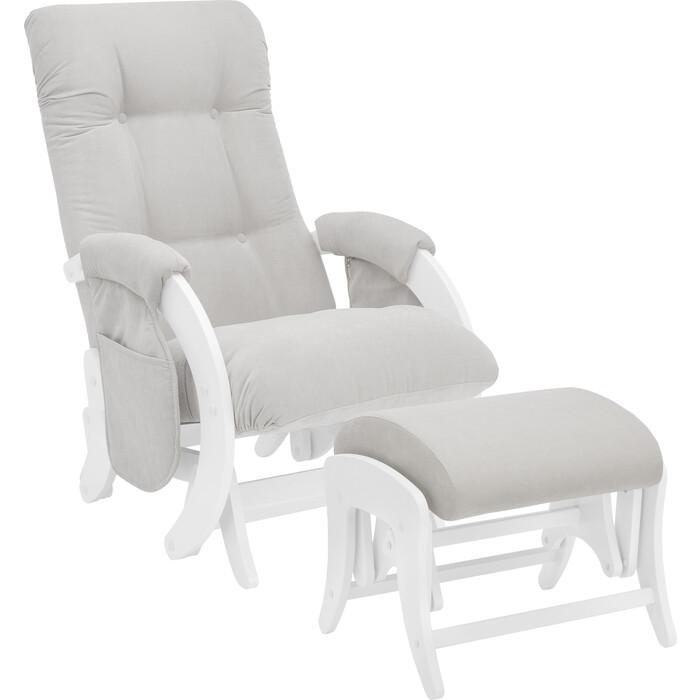 Milli Комплект Кресло для кормления и укачивания + пуф Smile молочный дуб, ткань Verona light grey с карманами
