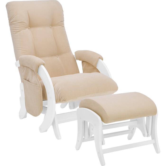 Milli Комплект Кресло для кормления и укачивания + пуф Smile молочный дуб, ткань Verona vanilla с карманами