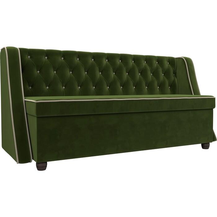 Кухонный прямой диван АртМебель Лофт микровельвет зеленый