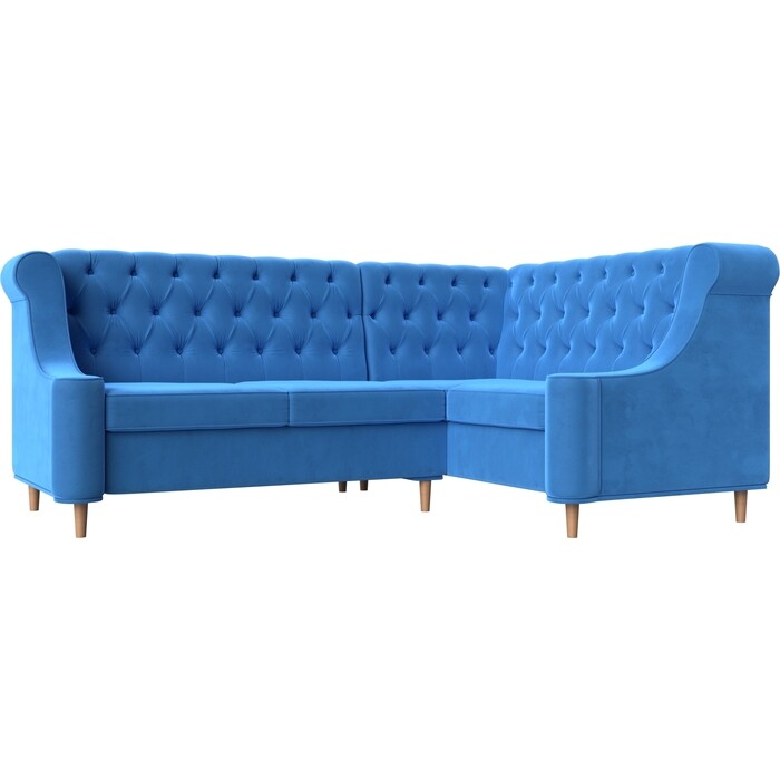 Кухонный угловой диван АртМебель Бронкс велюр голубой правый угол кухонный угловой диван артмебель бронкс велюр голубой левый угол