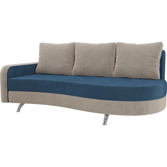 Фото - Диван прямой АртМебель Премьер велюр голубой бежевый левый диван прямой артмебель премьер рогожка коричневый бежевый левый