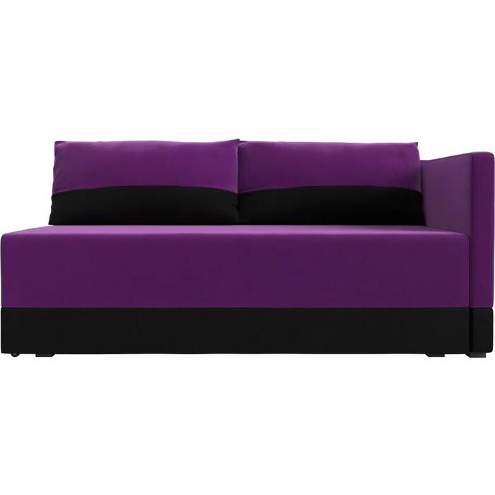 Кушетка АртМебель Никас микровельвет фиолетовый черный правый угол