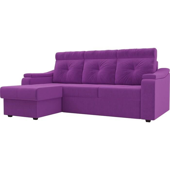 Диван угловой Лига Диванов Джастин микровельвет фиолетовый левый угол