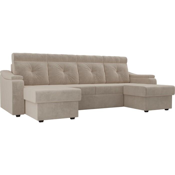 П-образный диван Лига Диванов П-образный диван Джастин велюр бежевый недорого