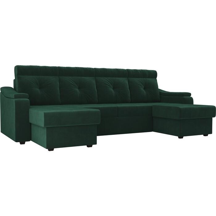 П-образный диван Лига Диванов Джастин велюр зеленый