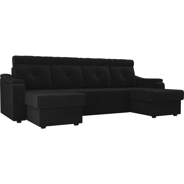 П-образный диван Лига Диванов Джастин велюр черный