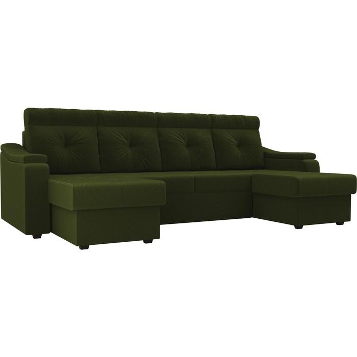 П-образный диван Лига Диванов Джастин микровельвет зеленый