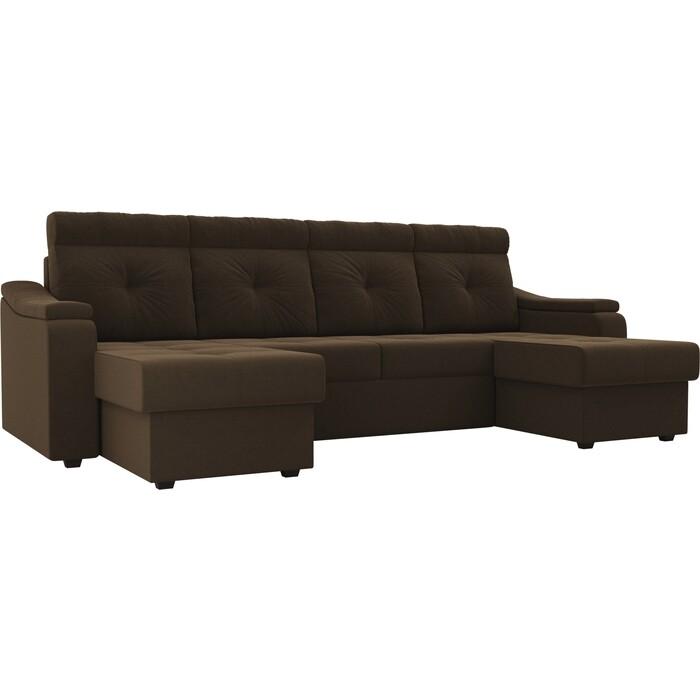 П-образный диван Лига Диванов Джастин микровельвет коричневый