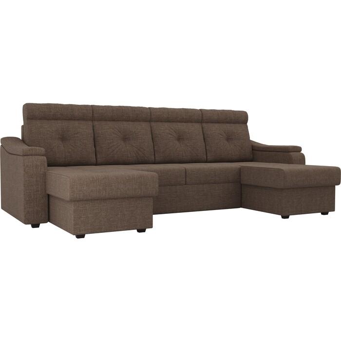 П-образный диван Лига Диванов Джастин рогожка коричневый