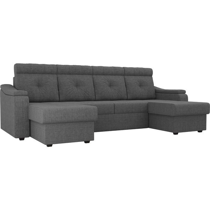 П-образный диван Лига Диванов Джастин рогожка серый