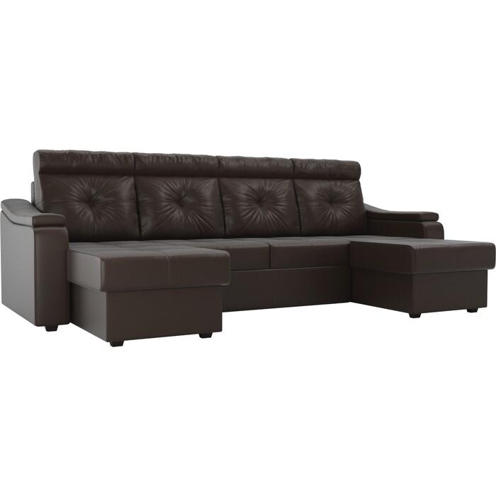 П-образный диван Лига Диванов Джастин эко кожа коричневый