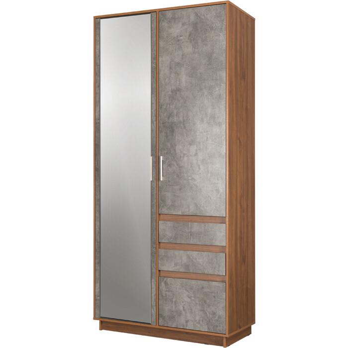 Шкаф для одежды Моби Леон 10.73 орех селект каминный/камень темный ( не универсальная сборка)