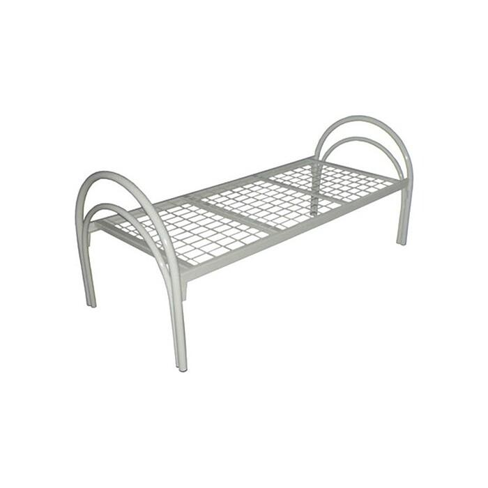 Кровать одноярусная Skyland КС-3У сетка 100х100 усиленная, двойная ножка 196х90х80 серый