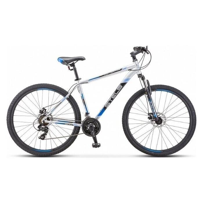 велосипед stels navigator 900 d 29 f010 21 серебристый синий Велосипед Stels Navigator-900 MD 29 F010 17.5 Серебристый/синий