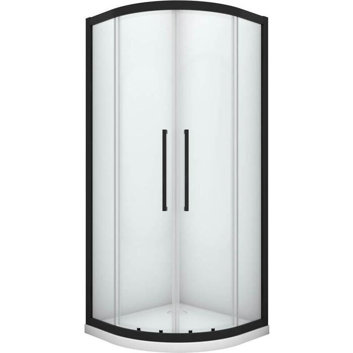 Душевой уголок Black&White Stellar Wind S801 100x100 стекло прозрачное, черный матовый профиль (8011010)