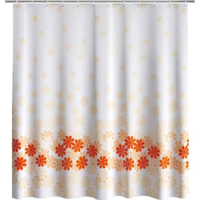 Шторка Fora для ванной Цветочный дождь оранжевая