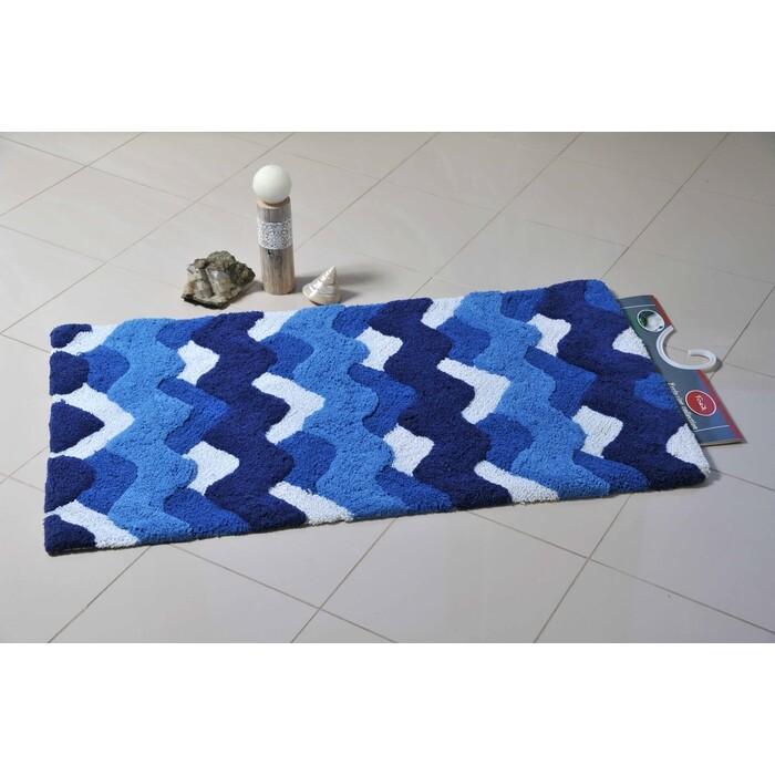 Коврик для ванной Fora Волны одинарный голубой 50*80см