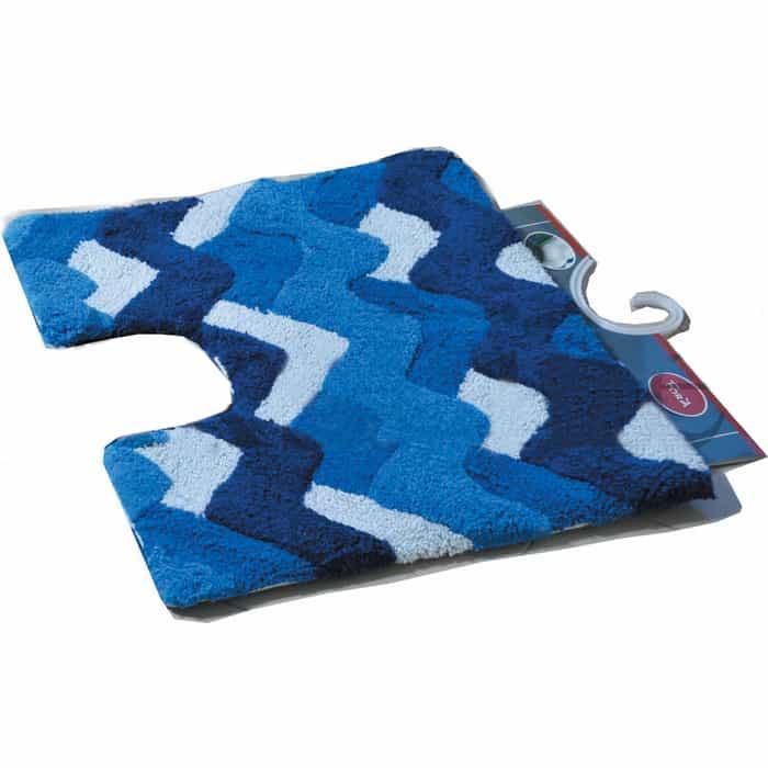 Коврик для ванной Fora Волны с U- вырезом голубой 50*40см