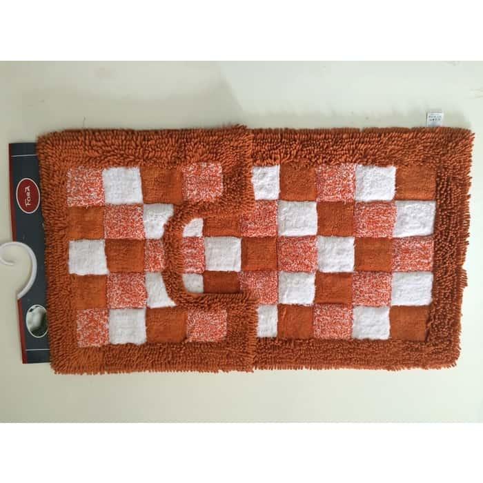 Коврик для ванной Fora Шахматы двойной оранжевый 60*100см+60*50см