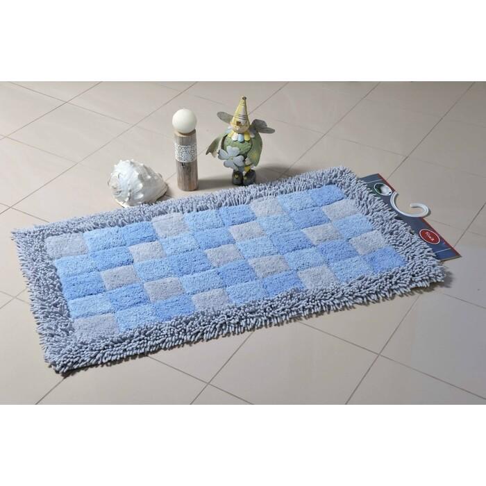 Коврик для ванной Fora Шахматы одинарный голубой 60*100см