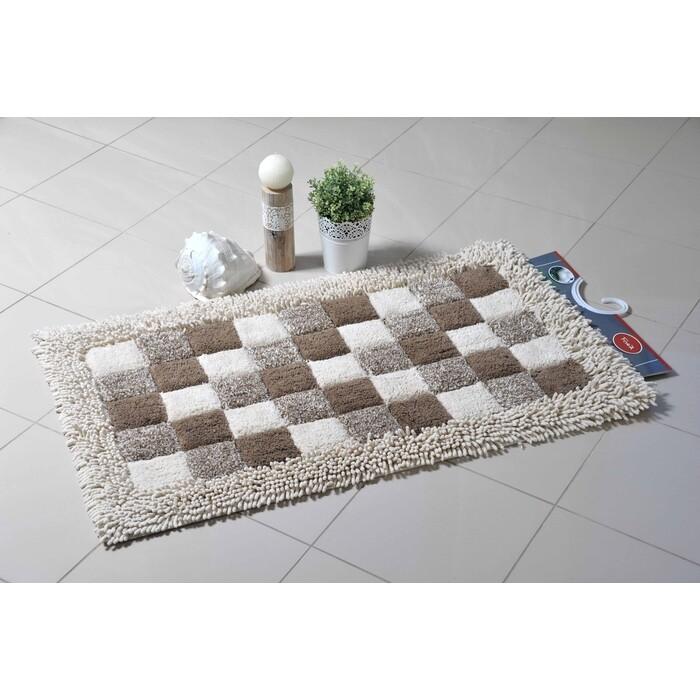 Коврик для ванной Fora Шахматы одинарный натуральный хлопок 60*100см