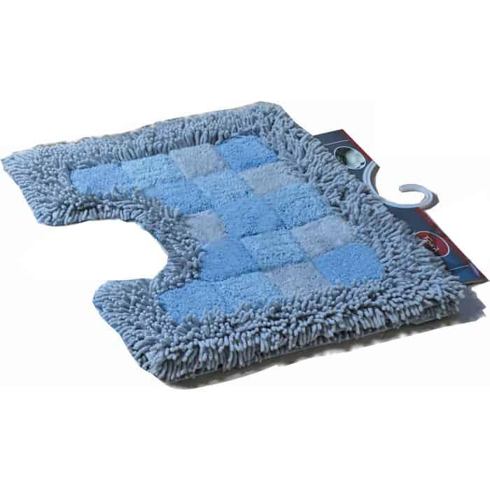 Коврик для ванной Fora Шахматы с U- вырезом голубой 50*40см