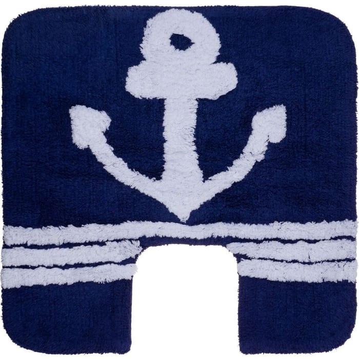 Коврик для ванной Fora ROYAL NAVY хлопковый синий с U- вырезом 50*50см