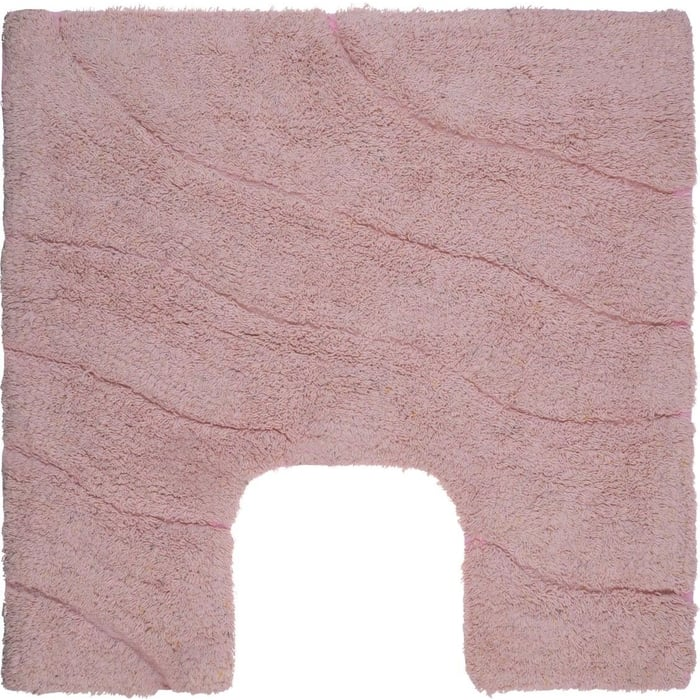Коврик Fora TRENDY для ванной комнаты хлопковый Волна розовый с U- вырезом 50*50см