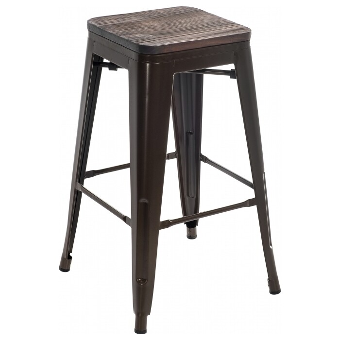 цена Барный стул Woodville Tolix Bar wood CColl T-2103B-26 bronze/brown walnut онлайн в 2017 году